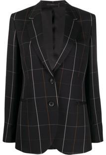 Paul Smith Blazer De Lã Com Xadrez Windowpane - Preto