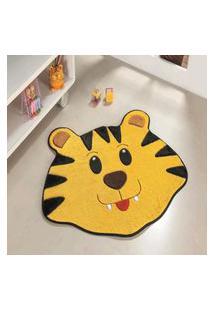 Tapete Formato Feltro Antiderrapante Tigre Amarelo Ouro