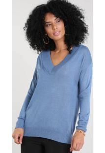 Suéter Feminino Em Tricô Gola V Azul