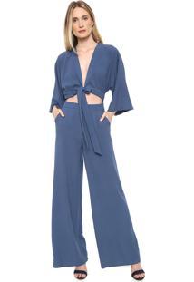 Macacão Lança Perfume Pantalona Amarração Azul
