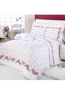 Jogo De Cama Casal Sultan Naturalle Fashion Florença Branco Com Vermelho 200 Fios