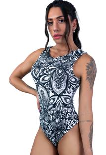 Body Mvb Modas Camiseta Collant Suplex Estampado Mandala