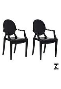 Kit 2 Cadeiras Louis Ghost Preta Solido Policarbonato Sala Cozinha Jantar
