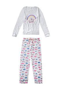 Pijama Longo Arco-Íris Malwee Liberta (1000052487) Algodão