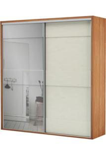 Armario Premium Com Espelho 2 Portas E 2 Gavetas Cor Freijo Com Off White Brilho 2,23 Mt (Larg) - 56458 - Sun House