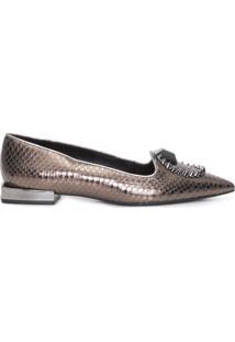 Sapato Feminino Loafer Bico Fino - Marrom