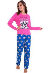 Pijama De Inverno Estampado Luna Cuore Feminino - Feminino-Rosa+Azul