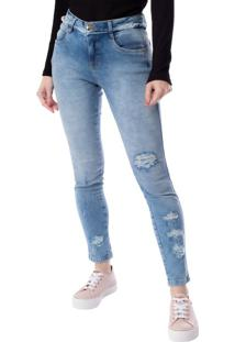 Calça Jeans Feminina Pitt Destroyed Azul Claro - 38