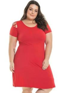 Vestido Viscolycra Com Transpasse De Tiras Miss Masy Plus Size Feminino - Feminino