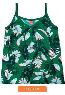Blusa Verde Tropical Em Viscose Conforto