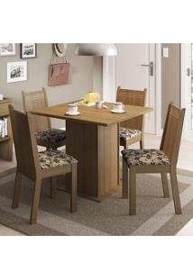 Conjunto De Mesa Com 4 Cadeiras Kate Rustic E Bege