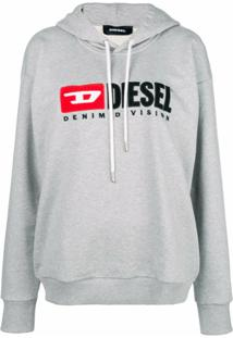 Diesel Blusa De Moletom Com Logo 'Denim Vision' - Cinza