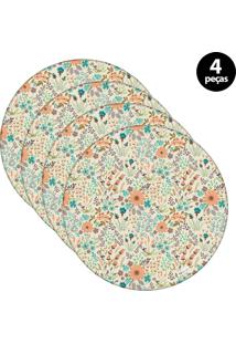 Sousplat Mdecore Floral 32X32Cm Bege 4Pçs