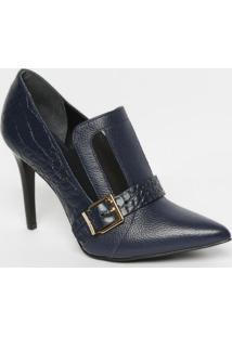 Ankle Boot Em Couro Com Recorte Em Tela- Azul Marinho