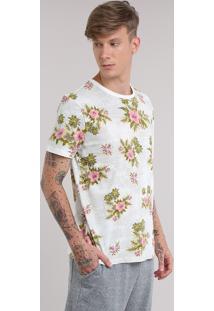 Camiseta Botonê Estampada Floral Cinza Mescla Claro