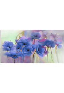 Quadro Flores Azul 55X100Cm