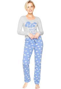 Pijama Malwee Liberta Nuvem Cinza/Azul