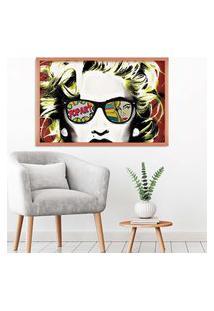 Quadro Love Decor Com Moldura Madonna Em Pop Art Rose Metalizado Médio