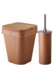 Conjunto Banheiro Lixeira Plástica Eco 5L E Escova Sanitária Cerejeira