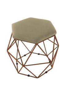 Puff Aramado Bronze Assento Hexagonal Suede Nude - Ds Móveis