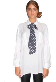 Camisa Chocoleite Manga Longa Faixa Poa Branco
