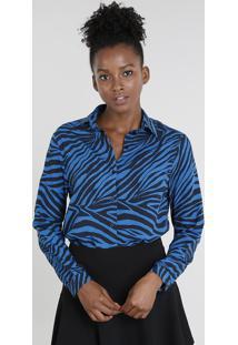 Camisa Feminina Mindset Estampada Animal Print Manga Longa Azul