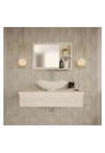 Conjunto Para Banheiro Bancada Com Cuba L42 Abaulada E Espelheira City 801 Snow
