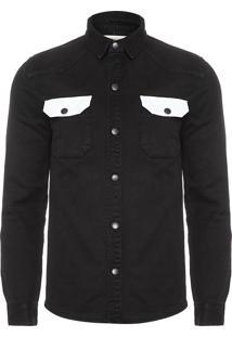 Camisa Masculina Color - Preto