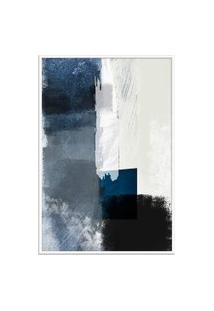 Quadro 90X60Cm Abstrato Textura Geruzak Moldura Branca Com Vidro Oppen House