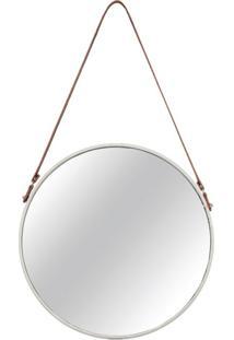 Espelho Redondo Decorativo 46 Cm Off White