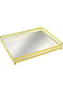 Bandeja Mart Em Metal Com Espelho Dourada
