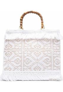 La Milanesa Bolsa Tote De Crochê - Branco