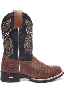 Bota Texana Fossil Preto Com Marrom Bico Redondo - Masculino-Marrom+Preto