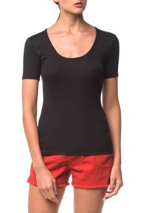 Blusa Ckj Fem Mc Viscose Bordado - Preto - P