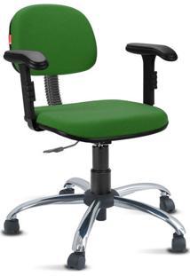 Cadeira Escritório Verde Bandeira Cromada Com Braços