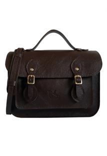Bolsa Line Store Leather Satchel Pequena Couro Marrom Escuro. - Kanui