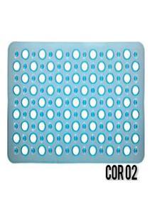 Tapete Para Box Banheiro Antiderrapante C/ Ventosas Azul