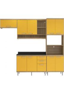 Cozinha Completa Com Balcão Com Tampo 5 Peças 9 Portas Sicília Multimóveis Argila/Amarelo