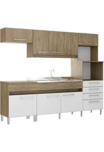 Cozinha Compacta 8 Portas 4 Gavetas Open Decibal Wood/Branco