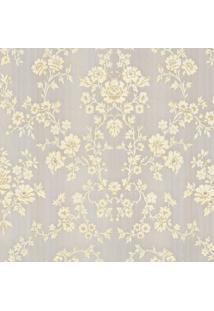 Papel De Parede Floral- Amarelo Claro & Bege- 823X68Shark Metais