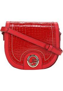Bolsa Couro Jorge Bischoff Mini Bag Arredondada Feminina - Feminino-Vermelho