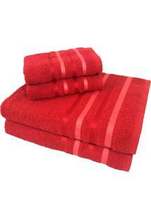 Jogo De Toalha 4 Peças Kit De Toalhas 2 Banho 2 Rosto Jogo De Banho Vermelha