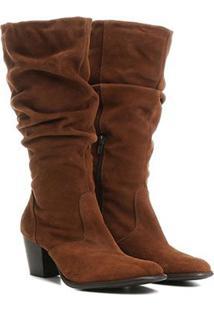 Bota Couro Slouch Cano Alto Shoestock Feminina