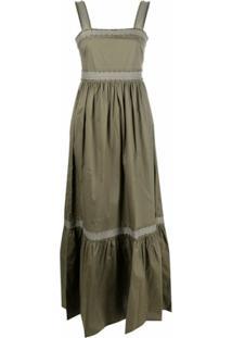 Twinset Vestido Evasê Com Aplicação De Tachas - Verde
