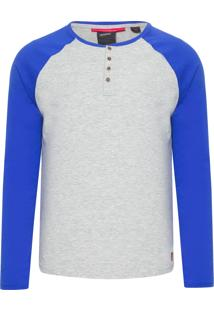 Camiseta Masculina Camboinhas - Cinza E Azul