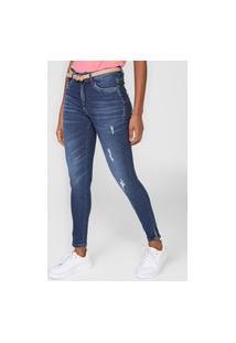 Calça Jeans Enfim Skinny Estonada Azul-Marinho