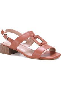 Sandália Couro Shoestock Salto Médio Madeira Feminina - Feminino-Marrom