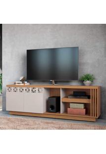 Rack Para Tv Até 70 Polegadas 2 Portas Com Espelho Astúrias Colibri Móveis Natural Real/Off White