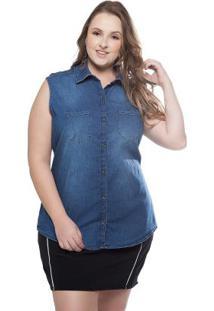 Blusa Sem Manga Com Bolsos Jeans Cativa Mais