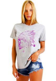 Camiseta Feminina Joss Native Roxo Cinza